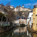Luxembourg grund old part of called with the river alzette flowing through and its picturesque houses on either side of the river Royalty Free Stock Photos