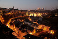 Luxembourg historic center old town night scene Stock Photography