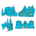 Luxembourg Luxembourg Colored Landmarks Royalty Free Stock Photo