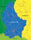 Luxembourg map highly detailed vector of with administrative regions main cities and roads Royalty Free Stock Images
