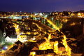 Luxembourg at night imagine showing lower part from a bridge Royalty Free Stock Image