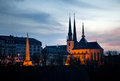 Luxembourg notre dame cathedral and monument du souvenir night scene Stock Images