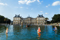 The luxembourg palace in jardin du in paris france view on main facade Stock Photography