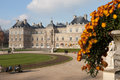 Luxembourg palace the in paris france selective focus on flowers Stock Photos