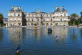 Luxembourg palace in paris small yachts pond at france Royalty Free Stock Image