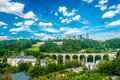 Luxembourg panoramic view of city with a cloudy sky Stock Images