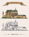 Luxembourg Vianden old castle on mountain with ribbon on top. Romanesque and renaissance architecture of castle or Royalty Free Stock Photo