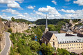 Luxembourg view from above on to the neumunster abbey in grund the casemates and the river alzette flowing in the valley Stock Photography