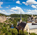 Luxembourg view from above on to the neumunster abbey in grund the casemates and the river alzette flowing in the valley Royalty Free Stock Photos