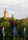 Luxembourg view of city with and european union flags in front and spuerkees state savings bank headquarters Stock Photo