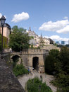 Luxemburg, ancients wall and modern buildings Royalty Free Stock Photo