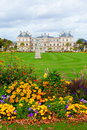 Luxemburg garden paris france september gardens jardin du luxembourg and the luxembourg palace in a cloudy september day Stock Photo