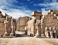Luxor Karnak Temple, ancient Egyptian pharaoh sculptures. Royalty Free Stock Photo