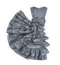 Luxuriant gray strapless dress in movement on a white background Royalty Free Stock Photo