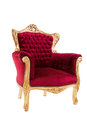 Luxurious armchair red isolated on white background side view Royalty Free Stock Image