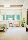 Luxurious bedroom detail in luxury home with outdoor view Royalty Free Stock Photography