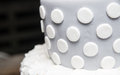 Luxurious cake closeup of wedding with spotted pattern Royalty Free Stock Image