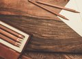 Luxurious charcoal drawing pencils Royalty Free Stock Photo