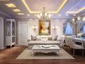 Luxurious classic baroque living room interior