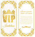 The luxurious design of the flyer. Inscription VIP of floral decorative pattern on a white background.