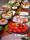 Luxurious food buffet array of different delicious on table Stock Photography