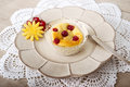 Luxurious fruit dessert on decorative plate with doily Stock Photos