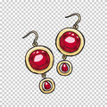 Luxurious Gold Ruby Earrings Illustration