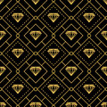 Luxurious golden lines diamond seamless pattern