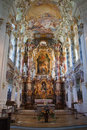 The luxurious interior of the Church Wieskirche Stock Photos