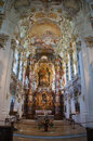 The luxurious interior of the Church Wieskirche Stock Image