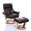 Luxurious leather recliner chair with footstool Royalty Free Stock Photo