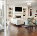 Luxurious living room in upscale home Royalty Free Stock Images