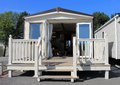 Luxurious modern caravan exterioer of with open doors Royalty Free Stock Photography