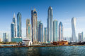 Luxurious residence buildings in dubai marina uae Stock Images