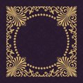 Gold decorative frame. Interwoven vintage ornament. Flowers and leaves. A rich wedding pattern.