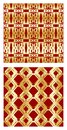 Luxurious tile with elegant golden seamless patterns on red background