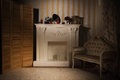 Luxurious vintage interior with fireplace in the aristocratic style Royalty Free Stock Images