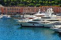Luxurious yachts in monte carlo harbour Royalty Free Stock Images