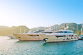 Luxuriously boats marine parking of and yachts in turkey Stock Photo