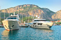Luxuriously boats marine parking of and yachts in turkey Royalty Free Stock Images