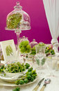 Luxuriously covered dining table Stock Photo