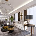 Luxury apartments in the hotel with a living room and dining room, sofa, bed, TV stand, dining table, classic interior with white Royalty Free Stock Photo
