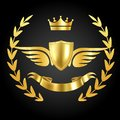 Luxury award with wings. Luxurious symbol of champion on dark background with royal leaves and ribbon vector concept