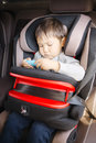 Luxury baby car seat for safety with happy kid Royalty Free Stock Photo