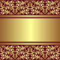 Luxury background with golden ornamental border is presented Stock Photography