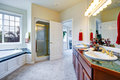 Luxury bathroom with door to master bedroom Royalty Free Stock Photo