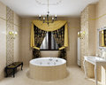 Luxury bathroom interior in daylight of new d render Stock Photography