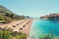 Luxury beach in montenegro near the island sveti stefan Stock Images