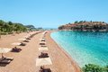 Luxury beach in montenegro near the island sveti stefan Royalty Free Stock Image