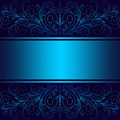Luxury blue Background with elegant floral Borders and Ribbon